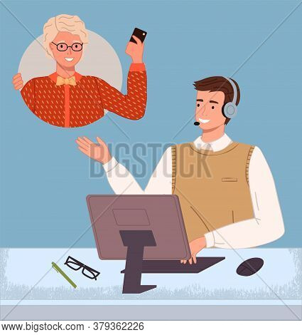 Managers In Call Center Hotline. Online Support Worker, Telephone Service Operator. Dispatcher, Work