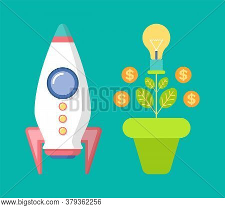 Money Tree In Pot And Spaceship, Coins And Light-bulb Decorations, Symbol Of Growth, Finance Technol