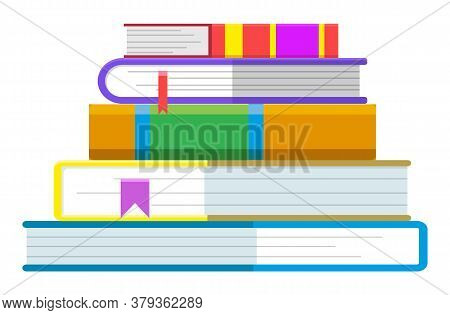 Books In Hardcovers With Bookmarks, Isolated Icon. Textbooks For School Or College, University Or Se