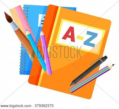 Textbook And Copybook, School Stationery Supplies Vector. Alphabet Book And Notebook, Pencils And Pe