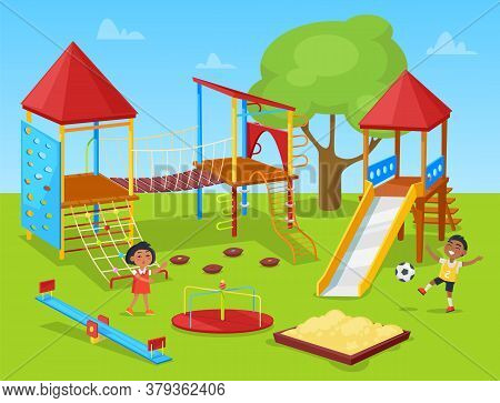 Classmates Recreation On School Playground, Girl And Boy Playing. Active Place With Stairs And Rope,
