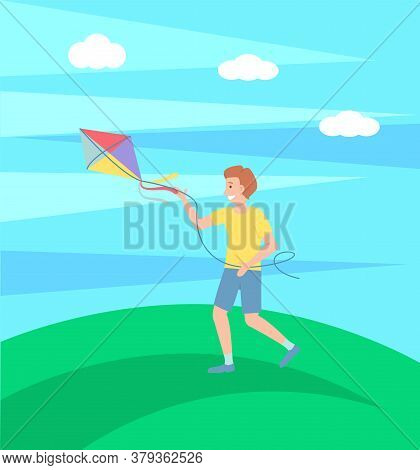 Boy Playing With Kite Outdoors, Happy Kid Running And Have Fun, Summertime Leisure, Outdoor Activity