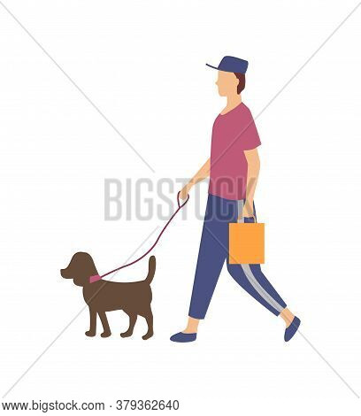 Man Or Woman Going With Dog, Side View Of Person Wearing Casual Clothes And Cap, Domestic Animal Wit