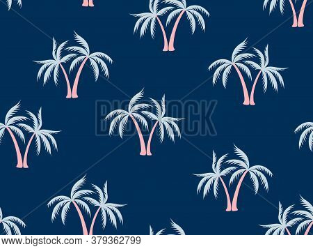 Coconut Palm Tree Pattern Textile Material Tropical Forest Background. Beautiful Vector Wallpaper Re