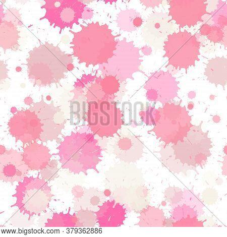 Paint Transparent Stains Vector Seamless Grunge Background. Messy Ink Splatter, Spray Blots, Mud Spo
