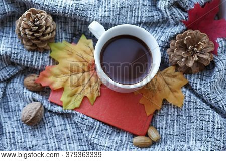 Autumn, Fall Leaves, Hot Steaming Cup Of Coffee And A Warm Grey Scarf . Seasonal, Morning Coffee, Su