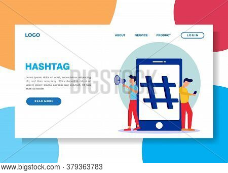 Vector Illustrations, Cellphones With Hashtag Marks, Young Men, And Social Networks.