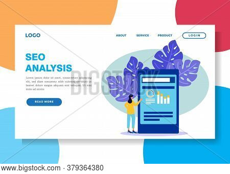 Vector Illustration Of Business Concepts, Female Business People Studying Infographics, Evolutionary