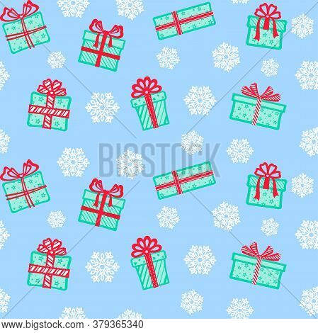 Different Turquoise Gift Boxes With Red Ribbons And Bows On A Blue Background With White Openwork Sn