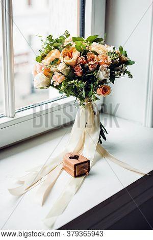 Brides Bouquet, Wedding Bouquet, Bouquet Of Fresh Flowers, Stands On The Table, Flower Arrangement I