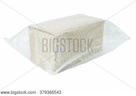 Bubbles Covering The Box By Bubble Wrap For Protection Product Cracked Isolated White Background