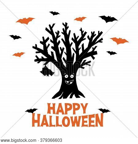 Dry Funny Tree With Hanging Bat And Flying Bats. Happy Halloween Orange Lettering. Holiday Greeting