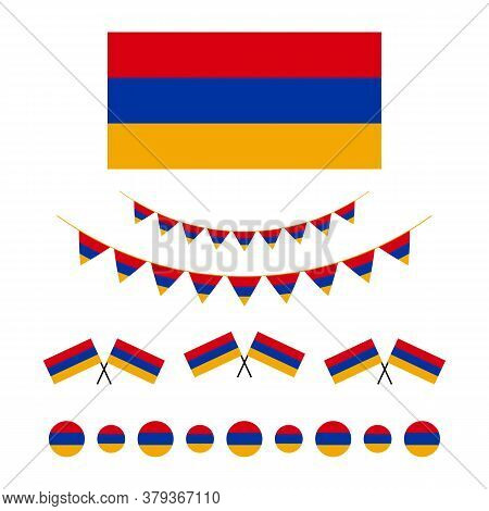 Flag Of Armenia Design Elements, Borders, Garlands Set, Collection For Armenian Public And National