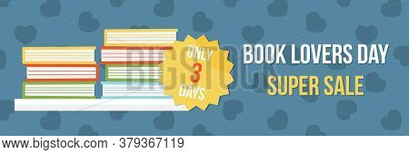Vector Wide Horizontal Banner Template, Illustration For National Book Lovers Day Sale.