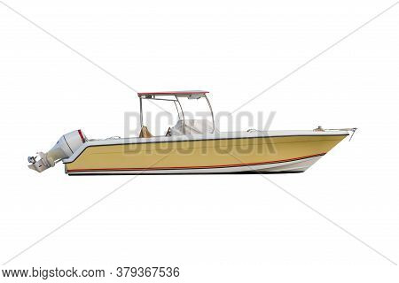 Yellow Motor Boat With Sun Awning Isolated On White Background
