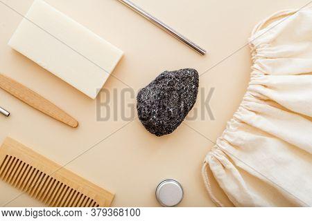 Pumice With Bamboo Tooth Brush, Towel, Sea Sponge, Loofah, Soap, Wooden Hair Brush. Eco-friendly Bat