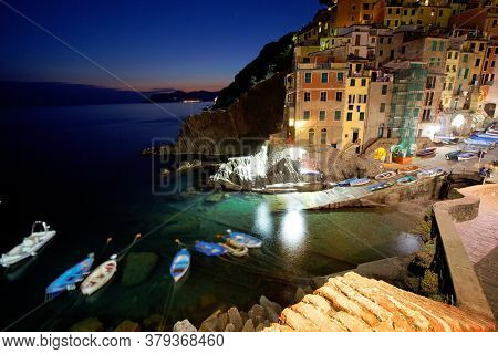 Architecture of Riomaggiore resort on the Ligurian Coast, Cinque Terre, Italy