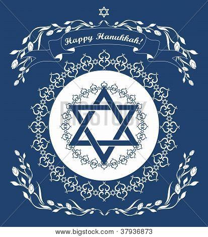 Jewish Hanukkah Holiday Background With Magen David Star -  Vector Illustration