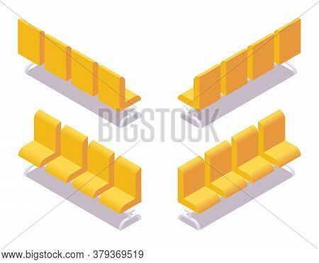 Isometric Collection Of Yellow Tribune Sits In Various Foreshortening Views Isolated On White With S