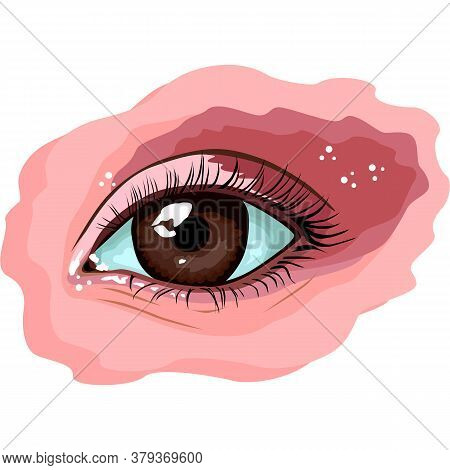 Eyes Illustration In Sketch Style. Fashion Style. Eye On White Background. Eyes Art. Woman Eye.