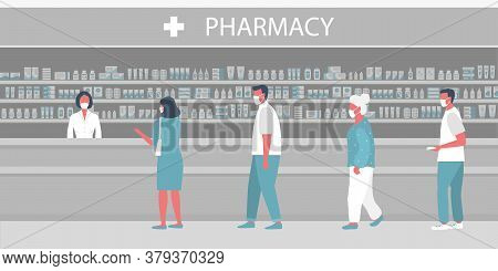 People In Medical Masks In The Pharmacy. Pharmacy During The Coronavirus Epidemic. The Pharmacist St