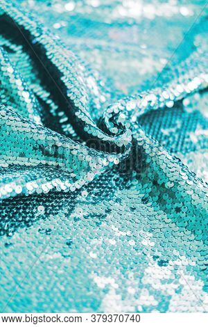 Ai Aqua Blue Trendy Color Of Year 2021 Sequin Fabric Texture. Shiny Sparkling Background. Clothing P