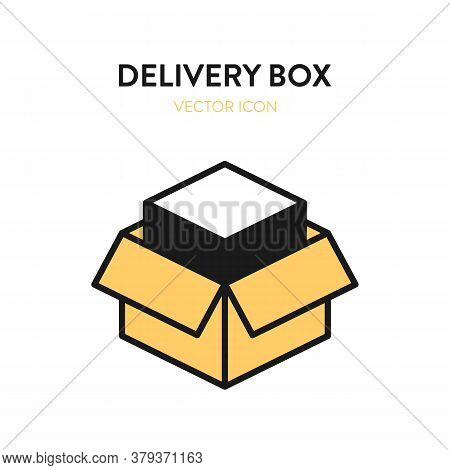 Delivery Box Isometric Icon. Vector Illustration Of Open Delivery Box With Merchandise Item Inside.