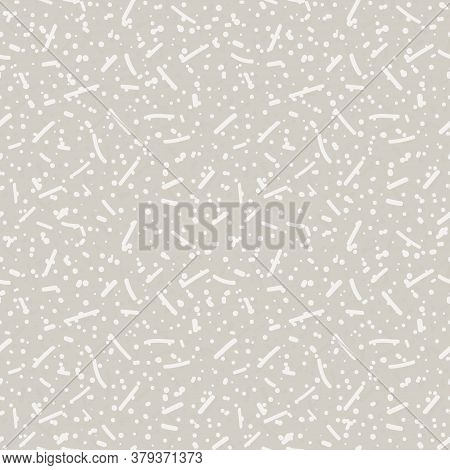 Seamless Pattern. Neutral Cream Sprinkle Confetti Background. Elegant Minimal Off White Beige Linen