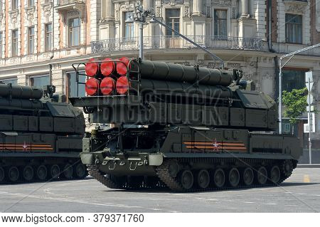 Moscow, Russia - June 20, 2020:buk-m3 Anti-aircraft Missile System On Tverskaya Street During The Dr