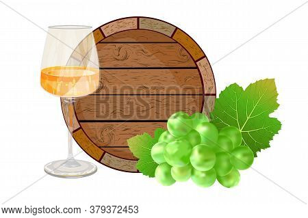 Barrel, Wine And Grapes Isolated On White Background. Wooden Wine Keg, White Dry Wine Glass And Gree