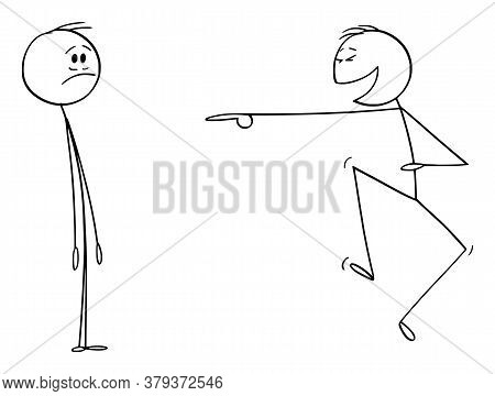 Cartoon Stick Figure Drawing Conceptual Illustration Of Frustrated Man Or Businessman And Another Ma