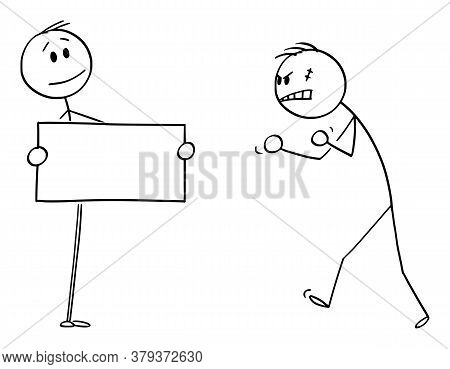 Cartoon Stick Figure Drawing Conceptual Illustration Of Confident Person Facing Aggressive Angry Vio