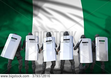 Nigeria Protest Fighting Concept, Police Squad Protecting Government Against Riot - Military 3d Illu