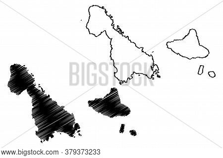 Malampa Province (republic Of Vanuatu, Archipelago) Map Vector Illustration, Scribble Sketch Ambrym,