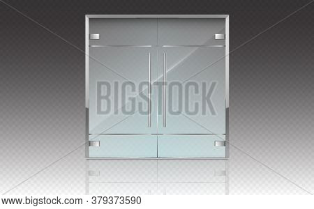 Double Glass Doors With Metal Frame And Handles. Vector Realistic Mockup Of Closed Doors Isolated On