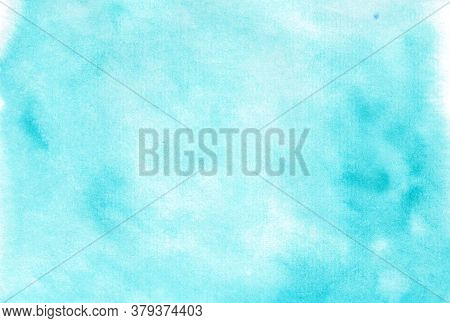 Abstract Blue Watercolor Background. Watercolor Painted Blots. Hand Painted Art. Gradient With Splas