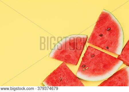 Sweet Watermelon Slice On Yellow Background With Ccopy Space