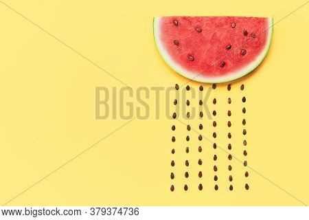 Watermelon Slice With Seeds On Yellow Background With Copy Space. Food Art. Flat Lay