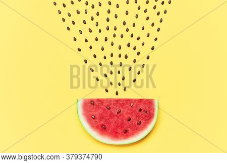 Watermelon Slice With Seeds On Yellow Background. Creative Layout. Food Art. Flat Lay
