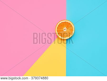 Orange On Abstract Geometry Colored Paper Texture Minimalism Background With Pastel Pink, Blue And Y