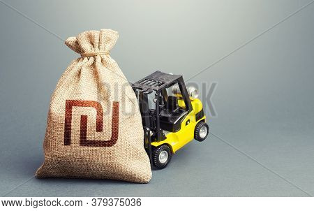 Yellow Forklift Unable To Lift A Israeli Shekel Money Bag. Strongest Financial Assistance, Support O