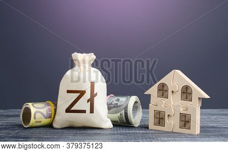 Polish Zloty Money Bag And Puzzle House. Housing Cooperative Membership. Property Valuation. State S