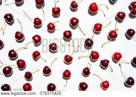 Ripe Sweet Cherries Isolated On White Background. Food Wallpaper, Summer, Vegetarian Concept
