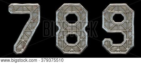 Set of numbers 7, 8, 9 made of industrial metal on black background 3d rendering