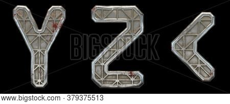 Set of capital letters Y, Z and symbol left angle bracket made of industrial metal isolated on black background. 3d rendering
