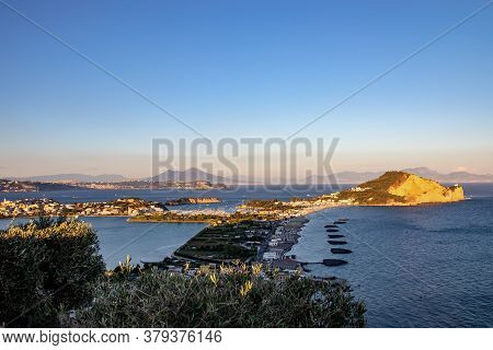 The Panorama Of The Beach Of Miseno, Of The Mountain Of Miseno With The Lake Of Bacoli Behind It. A
