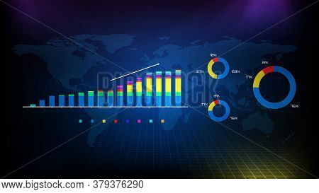 Abstract Background Of Gross Graph And Pie Chart Data With World Map
