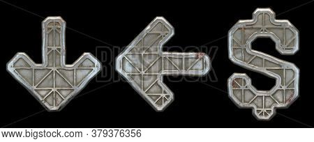 Set of symbols arrow to down, left arrow, dollar made of industrial metal on black background 3d rendering