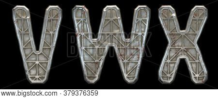 Set of capital letters V, W, X made of industrial metal isolated on black background. 3d rendering