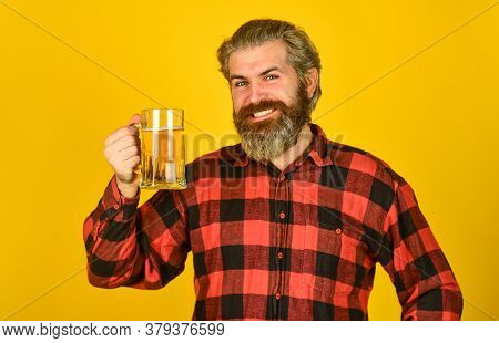 Happy Birthday Concept. Make Sip. Celebrate With Alcohol. Adding Joy In Life. Mature Bearded Man Hol